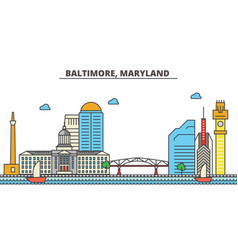 Baltimore marylandcity skyline architecture vector