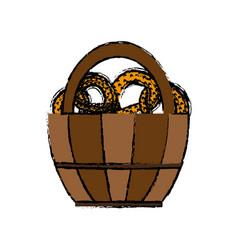 Basket with pretzels icon vector
