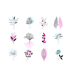 beautiful set plant icons on a white background vector image