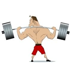 Bodybuilder raises barbell vector image