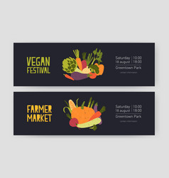 bundle of web banner templates with harvested vector image