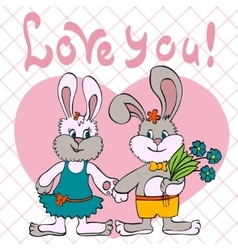 bunnies love girl and boy vector image