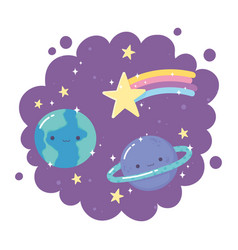 cartoon planets earth saturn shooting star stars vector image