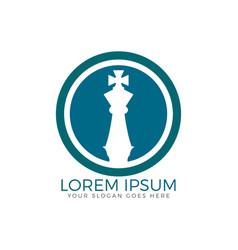 Chess king logo design vector