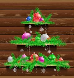 Christmas tree of three wood shelves vector