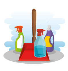 Cleaning supplies with spray soap dustpan vector