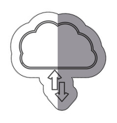 Cloud data center downloading and uploading icon vector