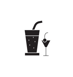cocktail drinks black concept icon vector image