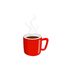 coffee in a red cup with smoke vector image