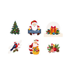 collection of christmas objects new year holiday vector image
