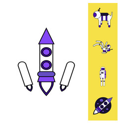 Collection of icons and space technology concept vector