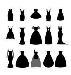 Collection silhouettes of black dresses on white vector