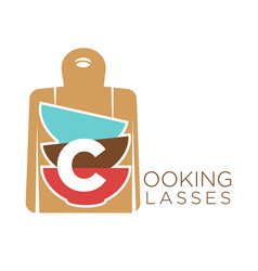 Cooking classes promo emblem with cutting board vector