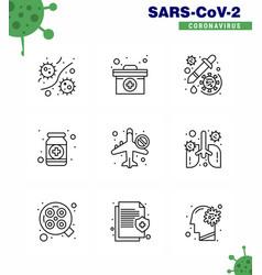 Coronavirus awareness icons 9 line icon corona vector
