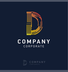 D company logo design with visiting card vector