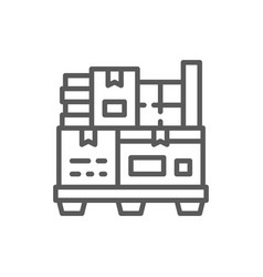 different boxes on pallets line icon vector image