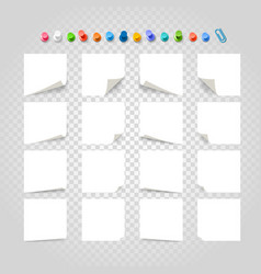 Different white paper stickers collection on vector
