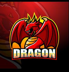 dragon mascot esport logo design vector image