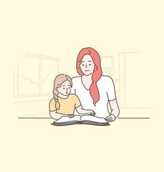 education family reading teaching motherhood vector image