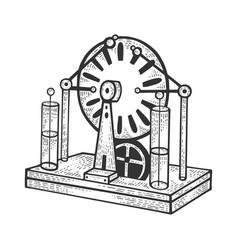 Electrostatic generator sketch engraving vector