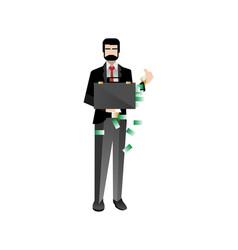European bearded investor holding money suitcase vector