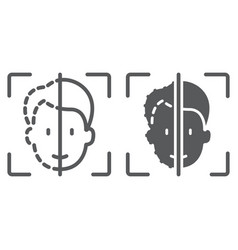 face id line and glyph icon face recognition and vector image