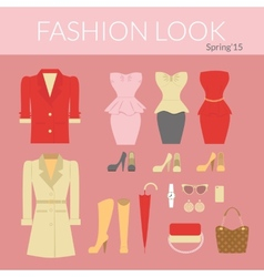 fashion female clothes set vector image