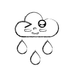 Figure kawaii nice funny cloud raining vector
