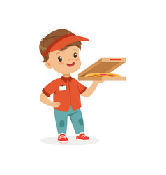 Flat cheerful delivery boy vector