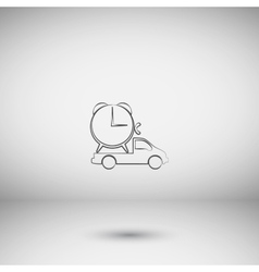 Flat paper cut style icon of vehicle vector