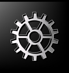 gear sign gray 3d printed icon on black vector image
