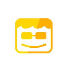 geek box smile square shape yellow symbol design vector image