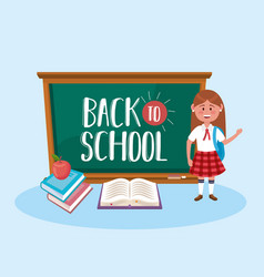 girl student with blackboard and books with apple vector image