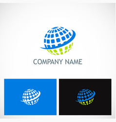 globe sphere planet technology logo vector image