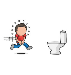 hand-drawn cartoon of man running to pee on vector image
