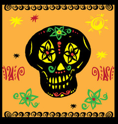 hand drawn mexican skul vector image
