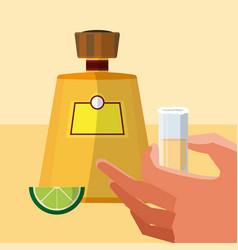 Hand grabbing tequila shot vector