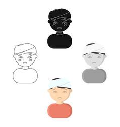 Head injury icon cartoonblack single sick icon vector