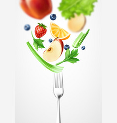 Healthy food 3d vegetable on silver fork vector