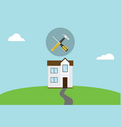house repair maintenance symbol icon with hammer vector image