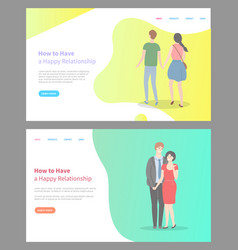 how to build happy relationship website with info vector image