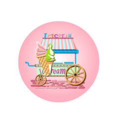 ice cream market cart mockup vector image