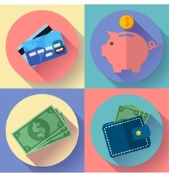 icon Set Wallet credit card piggi and vector image