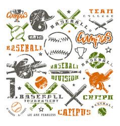 icons and badges set baseball team vector image