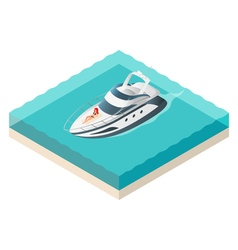 isometric yacht and beautiful woman resting on it vector image