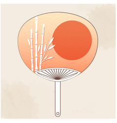 Japanese fan bamboo sunset background image vector