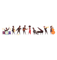 jazz musicians icon set vector image