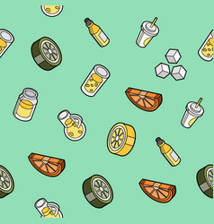 Lemonade flat outline isometric pattern vector