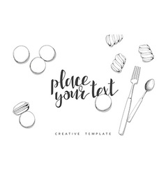 Macaroon and marshmallow in sketch Conceptual vector image