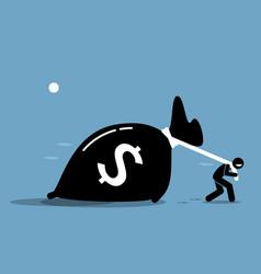 Man pulling a big bag money artwork depicts vector